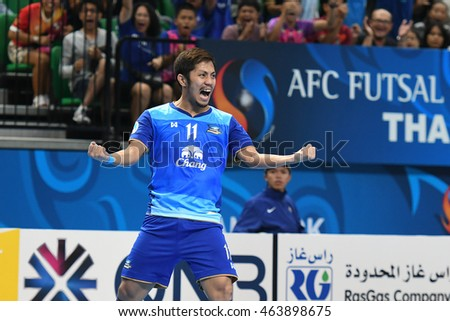 BANGKOK THAILAND-JULY15:JETSADA CHUDECH of Chonburi Bluewave celebrates during AFC FUTSAL CLUB CHAMPIONSHIP 2016Match Chonburi Bluewave and Nagoya Oceans at Bangkok Arena Stadium on July15,2016