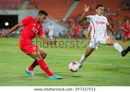 BANGKOK THAILAND JULY 14 :Joe Gomez (R)of Liverpool in action during the international friendly match Thai All Stars and Liverpool FC at Rajamangala Stadium on July14,2015 in,Thailand. - stock photo
