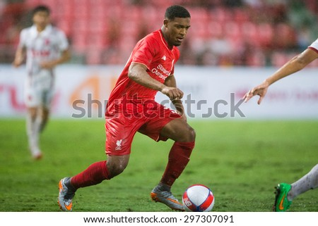 BANGKOK THAILAND JULY 14:Jordon Ibe  of Liverpool control the ball during the international friendly match Thai All Stars and Liverpool FC at Rajamangala Stadium on July14,2015 in,Thailand. - stock photo