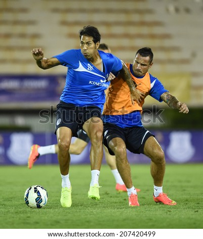 BANGKOK, THAILAND - JULY 26:Jose Leonardo Ulloa Fernandez of Leicester City in action during an evening session at Supachalasai Stadium on July 26, 2014 in Bangkok, Thailand.