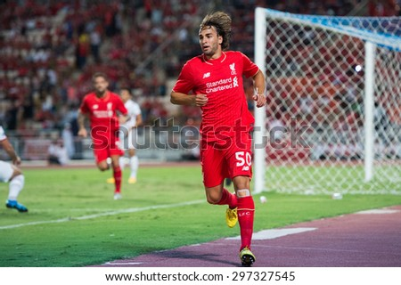 BANGKOK THAILAND JULY 14 :Lazar Markovic of Liverpool in action during the international friendly match Thai All Stars and Liverpool FC at Rajamangala Stadium on July14,2015 in,Thailand. - stock photo