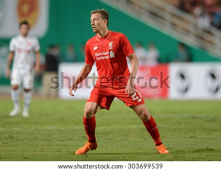 BANGKOK THAILAND JULY 14 : Lucas Leiva player of Liverpool in action during the international friendly match Thai All Stars and Liverpool FC at Rajamangala Stadium on July14,2015 in,Thailand.