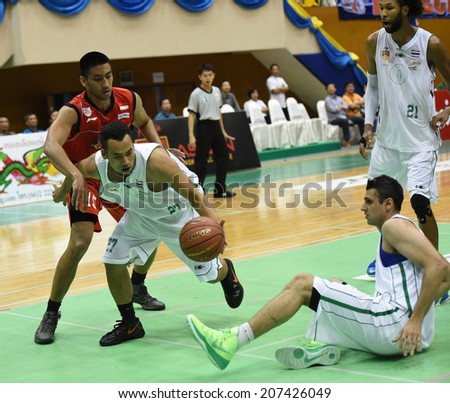 BANGKOK, THAILAND - JULY 23:Mana Jantuma of Hitech Bangkok City in action during ASEAN Basketball League 2104 at Thai-Japanese Sport Complex on July 23, 2014 in Bangkok, Thailand.