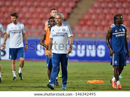 BANGKOK,THAILAND- JULY 16: Manager Jose Mourinho of Chelsea FC during a Chelsea FC training session at Rajamangala Stadium on July 16, 2013 in Bangkok, Thailand.
