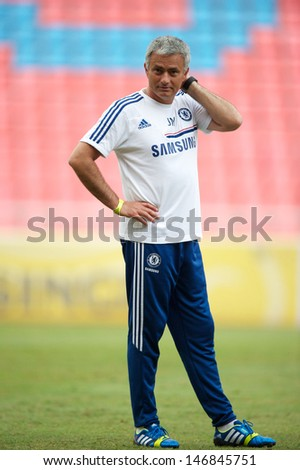 BANGKOK, THAILAND - JULY 16: Manager Jose Mourinho  of Chelsea FC in action during a Chelsea FC training session at Rajamangala Stadium on July 16, 2013 in Bangkok, Thailand.