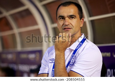 BANGKOK THAILAND JULY 27:Manager Roberto Martinez of Everton in action during the pre-season match between Leicester City and Everton at Supachalasai Stadium on July 27, 2014 in Bangkok, Thailand.  - stock photo
