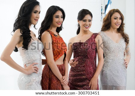 Bangkok, Thailand - July 28, 2015, 4 Models candidate from Miss International Thailand 2015 in public press conference event, at Phahonyothin soi 56 - stock photo