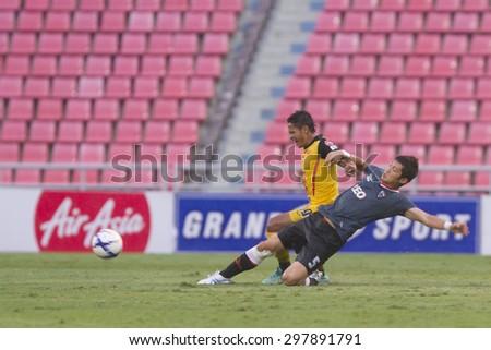 BANGKOK,THAILAND:JULY 2015:Murakami KaZuki(Japan)of Chaing Rai in action between Osotspa M150 vs Chiang Rai United at Rajamangala National Stadium;inThai Premier League on19July2015,Bangkok Thailand.  - stock photo
