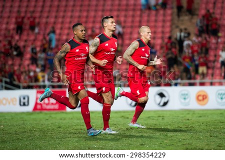 BANGKOK THAILAND JULY14:Nathaniel Clyne (L)of Liverpool run during the international friendly match between Thai All Stars and Liverpool FC at Rajamangala Stadium on July14,2015 in,Thailand. - stock photo