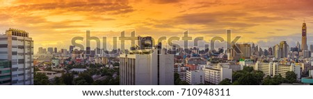 Bangkok, Thailand - July 8: Panorama Cityscape of Bangkok in the morning. on July 8, 2017 in Bangkok, Thailand.