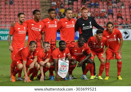 BANGKOK THAILAND JULY 14 : Players line up of Liverpool poses during the international friendly match Thai All Stars and Liverpool FC at Rajamangala Stadium on July14,2015 in,Thailand.