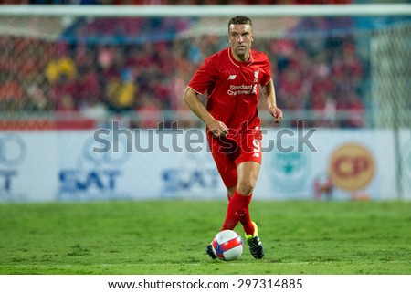 BANGKOK THAILAND JULY 14:Rickie Lambert of Liverpool in action during the international friendly match between Thai All Stars and Liverpool FC at Rajamangala Stadium on July14,2015 in,Thailand. - stock photo