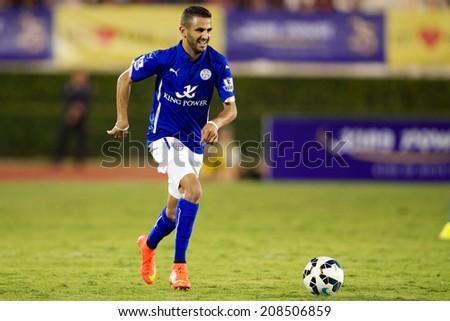 BANGKOK THAILAND JULY 27:Riyad Mahrez  of Leicester City run with the ball during the pre-season match between Leicester City and Everton at Supachalasai Stadium on July 27, 2014 in Bangkok,Thailand.  - stock photo