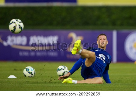 BANGKOK THAILAND JULY 26: Ross Barkley of Everton in action during training session at Supachalasai Stadium on July 26, 2014 in Bangkok, Thailand. - stock photo