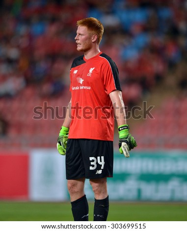 BANGKOK THAILAND JULY 14 :Simon Mignolet goalkeeper of Liverpool in action during the international friendly match Thai All Stars and Liverpool FC at Rajamangala Stadium on July14,2015 in,Thailand. - stock photo