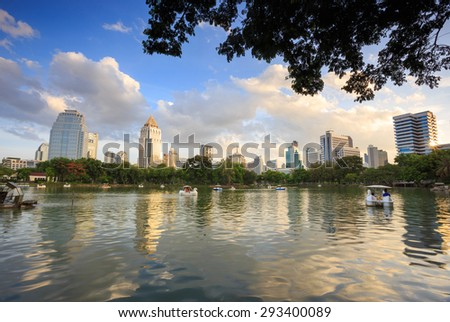 Bangkok, Thailand -  July 5, 2015: Skyscraper and Cityscape in Bangkok; many modern condominiums and business building on Sathorn and Silom road which presents Thailand's economic growth gradually.