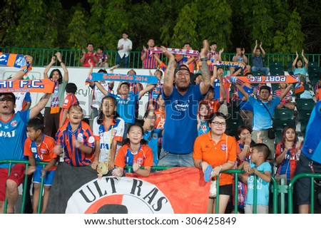 BANGKOK THAILAND-JULY 29 : Supporter of Thai Port FC during Chang FA CUP 2015 between Army United and Thai Port FC. at Thai Army Stadium on JULY 29,2015 in Thailand - stock photo