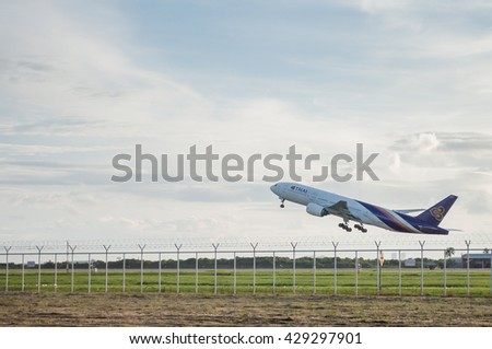 BANGKOK THAILAND - July,6 2015 - thai airway plane Take off from runway at suvarnabhumi international air port  Bangkok, Thailand.