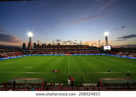 BANGKOK,THAILAND-JULY 23: The landscape of SCG Stadium in beautiful sky before the game between SCG Mungthong United and BEC TERO at SCG Mungthong Stadium on Jul 23, 2013 in,Thailand.