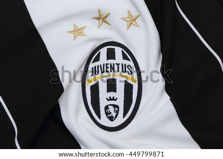 BANGKOK, THAILAND - JULY 10, 2016: The  Logo of Juventus on Football Jersey on July 10,2016 in Bangkok Thailand.