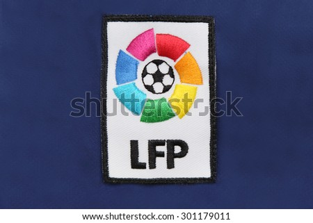BANGKOK, THAILAND -JULY 30, 2015: the logo of la liga spain football on the jersey on July 30, 2015 in Bangkok Thailand. - stock photo