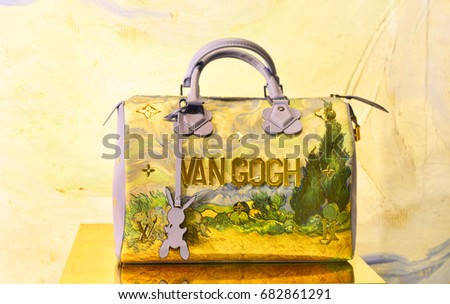 louis vuitton van gogh. bangkok -thailand: july 22,2017: the new collection of masters louis vuitton van gogh
