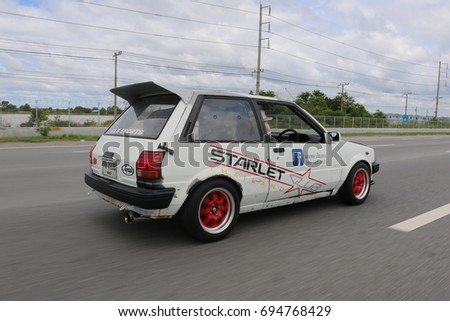 BANGKOK,THAILAND   JULY 6, 2017: Toyota Starlet On The Highway In Thailand
