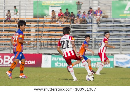 BANGKOK, THAILAND - JULY 21 : Unidentified player in Thai Premier League (TPL) between Thai Port FC (O) vs Wuachon United (R) on July 21, 2012 at PAT Stadium in Bangkok, Thailand