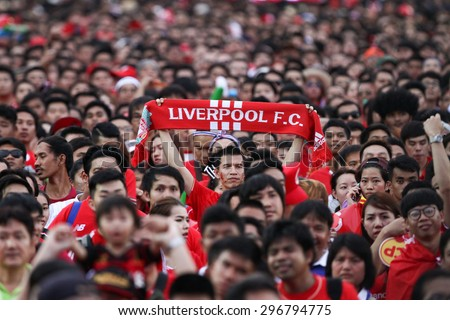 BANGKOK THAILAND JULY 14:Unidentified Thai fan Liverpool FC supporters during  friendly match Thailand All-Stars and Liverpool at Rajamangala Stadium on July 14, 2015 in Bangkok,Thailand. - stock photo