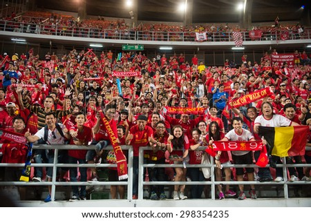 BANGKOK THAILAND JULY 14 :Unidentified Thai fan Liverpool FC supporters during the international friendly match Thai All Stars and Liverpool FC at Rajamangala Stadium on July14,2015 in,Thailand.  - stock photo