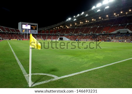 BANGKOK,THAILAND-JULY13: View of Rajamangala Stadium during the friendly match between Singha All Star XI and Manchester United at Rajamangala Stadium on July 13, 2013 in Thailand.
