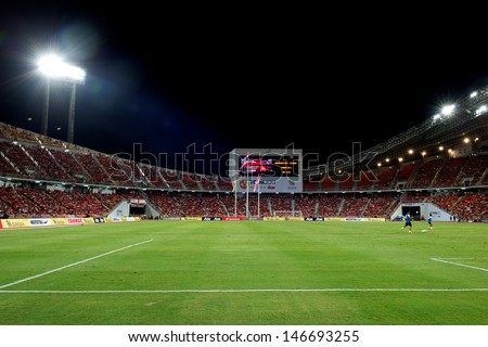 BANGKOK,THAILAND-JULY13: View of Rajamangala Stadium during the friendly match between Singha All Star XI and Manchester United at Rajamangala Stadium on July 13, 2013 in Thailand. - stock photo