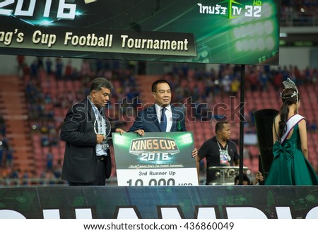 BANGKOK-THAILAND-5JUN,2016:Somyot Phumphanmuang president of football Association of Thailand in action match King cup between Thailand and Jordan at rajamangkala Stadium in Thailand on 5 june 2016