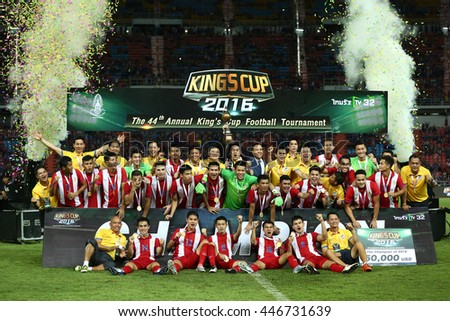 BANGKOK THAILAND JUN5 2015 :Thai National team celebrates winning the gold medal. the King's Cup 2016 Match between Thailand and Jordan at Rajamangala Stadium on June 5,2016 in Thailand.
