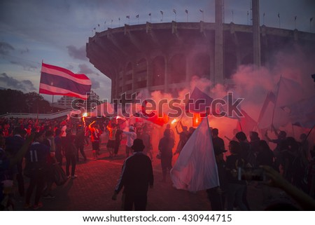 BANGKOK THAILAND Jun 3 2016 :Unidentified fan of Thailand supporters during the King's cup match Thailand 2016  Thailand Team and Seria Team at Rajamangala Stadium on Jun 3 2016 in Thailand. - stock photo