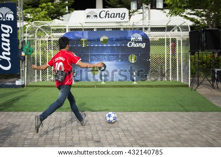 BANGKOK THAILAND Jun 3 2016 :Unidentified fan of Thailand supporters during the King's cup match Thailand 2016 Thailand Team and Syria Team at Rajamangala Stadium on Jun 3 2016 in Thailand. - stock photo