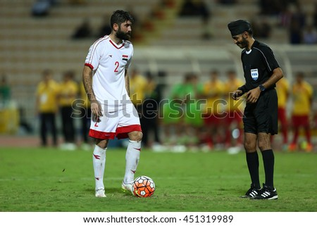 BANGKOK THAILAND JUN 3:Unidentified referee in action during of Thailand in action during the King's Cup 2016 Match between Thailand and Syria at Rajamangala Stadium on June 3,2016 in Thailand.