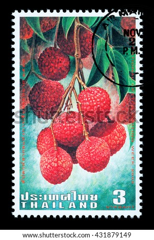 Bangkok Thailand - June 2010: A Thai postage stamp printed in Thailand depicting Thai lychee fruit 2003 - stock photo
