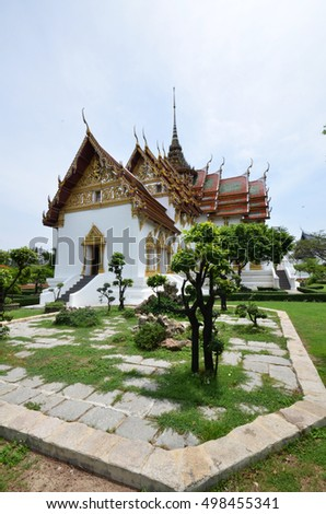 BANGKOK, THAILAND-20 JUNE, 2016: Ancient Siam , Mueang Boran park, The Chakri Maha Prasat Throne Hall , The Middle Court of Grand Palace of Thailand