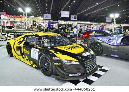 BANGKOK, THAILAND - JUNE 23 : Audi R8 modify for racing displayed in Bangkok International 2016 Auto Salon at June 23, 2016 Bangkok, Event of decoration and modify car of Thailand and Japan. - stock photo