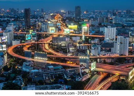 BANGKOK /THAILAND-June 8, Bangkok Expressway and Highway top view, Night scene with traffic light Thailand on June 8,2015.