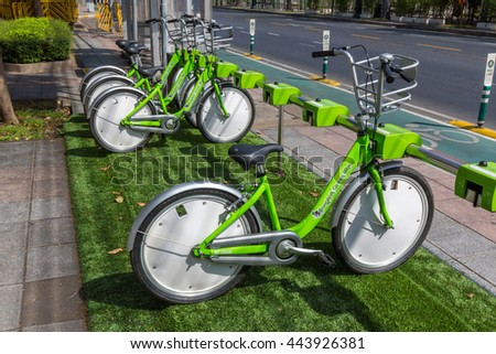 BANGKOK, THAILAND - JUNE 26, 2016: Bangkok Green Bike program provides residents and tourists with around 300 bikes, free of charge, to control the air pollusion in Bangkok, the Capital of Thailand