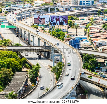 BANGKOK, THAILAND - June 21: Bangkok view, Above view from Tower  in the city  on June 21, 2015 in Bangkok Thailand - stock photo