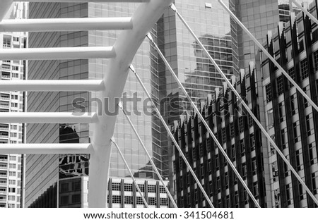 BANGKOK, THAILAND - JUNE 10, 2015 : Black and white image of exterior office building at Sathon business area in Bangkok, Thailand