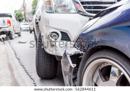 Car Crash Car Accident On Road Stock Photo 573342697