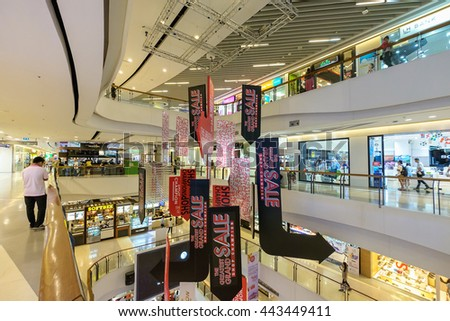 Bangkok Thailand - June 25, 2016: CentralPlaza Rama 9, the most recent addition of CentralPlaza brand in Bangkok, sits amidst the bustling intersection of Rama9