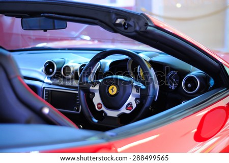 BANGKOK, THAILAND - JUNE 03, 2015: Details of a Ferrari car. Ferrari is an Italian luxury sports car. - stock photo