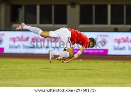 BANGKOK,THAILAND:JUNE 2015:(FW)Adisak No.9;BEC-Tero Sasana(red)-SCG Muangthong United(back) at 72nd Anniversary Stadium;inThai Premier League on18July2015,Bangkok Thailand.  - stock photo