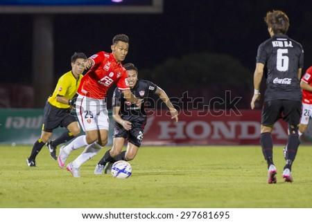 BANGKOK,THAILAND:JUNE 2015:(FW)Chenrop No.29of BEC-Tero;BEC-Tero Sasana-SCG Muangthong United at 72nd Anniversary Stadium;inThai Premier League on18July2015,Bangkok Thailand.  - stock photo