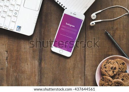 BANGKOK THAILAND - JUNE 16, 2016: Instagram page on new iphone 6s. The photo-sharing social network, which has 150 million monthly active users - stock photo